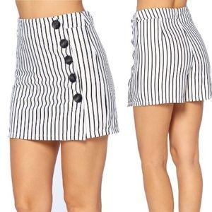 High waist Striped skort shorts